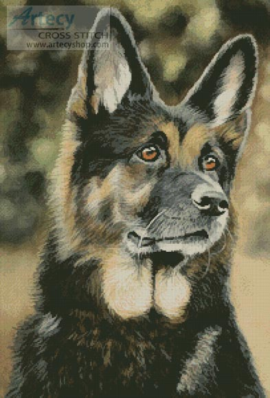 Artecy cross stitch german shepherd painting cross stitch pattern to